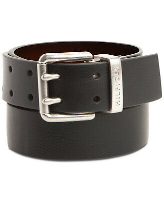 Tommy Hilfiger Men's Casual Two Hole Double Prong Reversible Belt Brown/Black