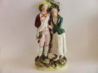 Antique Staffordshire Figurine, Couple, Victorian Hand Painted Figurine, 1800s