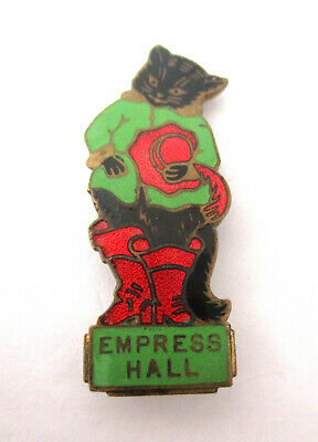 Vintage 1950s Empress Hall Puss in Boots Cat Enamel Badge, Fattorini & Sons