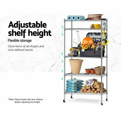 5-Tier Wire Shelving Unit Metal Shelves Rack Kitchen Organizer Adjustable Silver