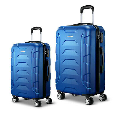 Set of 2 Durable Luggage Hard Shell Travel Suitcases with Combination Lock Blue