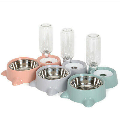 Pet Cat Dog Dry Food And Water Drinking Dispenser Automatic Feeding Double Bowl