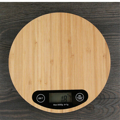 5kg Bamboo Wooden Digital LCD Scale Electronic Kitchen Cook Food Weighing Scales