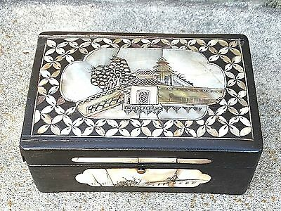 Victorian Era Antique Japanese Meiji wood carved pearl inlay jewelry ornate box