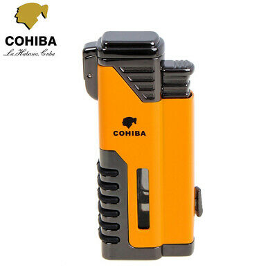 COHIBA Refillable Metal 4 Torch Flame Cigar Lighter Gas Butane Windproof Punch