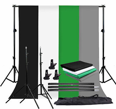 Photo Studio Background Support Stand Kit Black White Green Gray Screen Backdrop