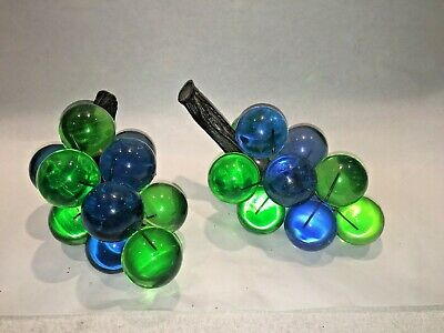 2 Retro 1960s 70s Mid Century Acrylic Lucite GREEN & BLUE Grape Clusters Bunches