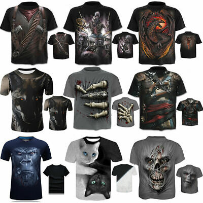 Fashion Men's Funny Skull 3D Print T-Shirt Casual Short Sleeve Tops Tee S-4XL