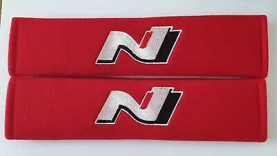 HYUNDAI N LOGO Seat Belt Pads N logo for all models RED Tucson Kona i30 130N