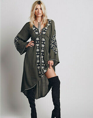 Womens Boho Vintage Flower Embroidered Tunic Casual Bohemian Long Dress Party zb
