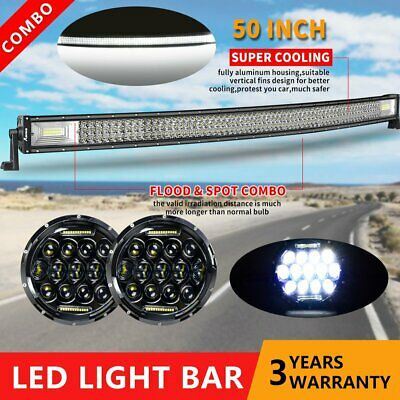 50INCH CURVED LED WORK LIGHT BAR FLOOD SPOT Offroad 4WD UTE JEEP Truck SLIM +7''