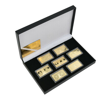 7PCES 24k gold bar $ 1-100 Set Rectangular Commemorative Coin With Box Gift
