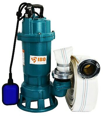 IBO FURY1.5kW Submersible Sewage Dirty Water Septic Sump Pump +grinder +20m hose