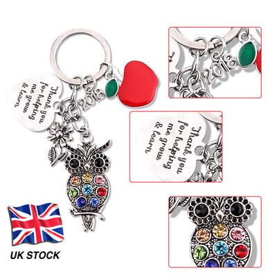 Thank you Gift for Teacher,Teaching assistant,Nursery Apple+Owl Keyring Trend`