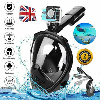 180° Anti-Fog Swimming Diving Full Face Mask Surface Snorkel Scuba for GoPro UK