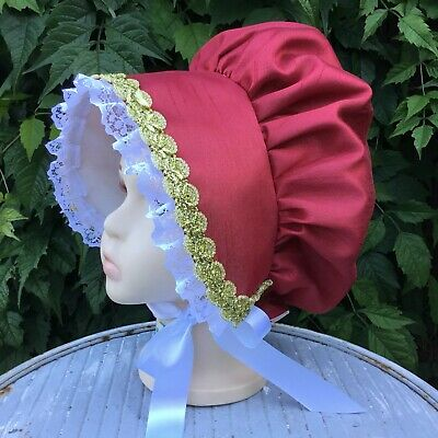 REDUCED Girls VICTORIAN Red Green BONNET Christmas Oliver Book day REGENCY SALE!