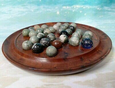 Late 19th Century Solitaire Walnut Marble Board Game with 32 Handmade Marbles