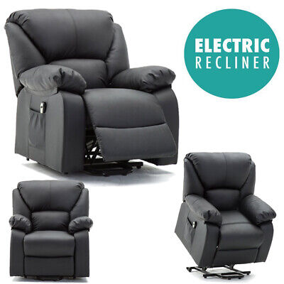 Electric Power Lift Rise Recliner Chair Armchair Sofa Leather Lounge Seat UK