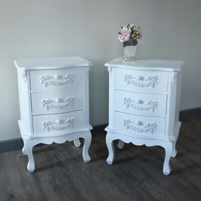 Pair of Ornate white French bedside chest drawers vintage chic bedroom furniture