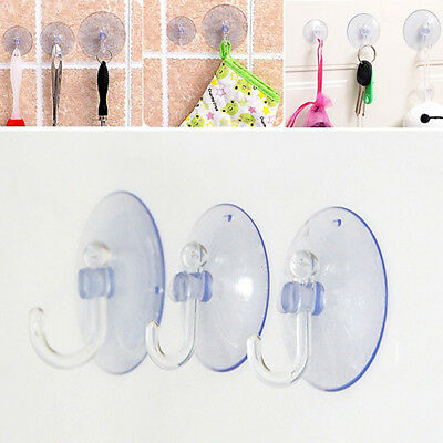 Wr_ Dr7 10Pcs Wall Hooks Suckers Home Kitchen Bathroom Hangers Suction Cup Hooks