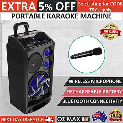 Portable Karaoke Machine Home Audio Wireless Microphone Bluetooth Speaker System