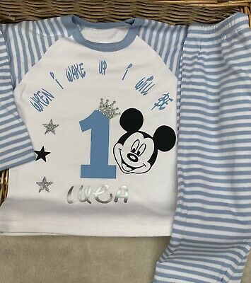 When I Wake Up Birthday Pyjamas  Pjs Personalised Set Any Name Mickey Mouse