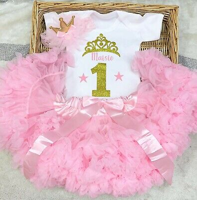 Princess  Baby 1st birthday outfit Tutu Girl Party Cake Smash Pink Age 1,2,3,4,5