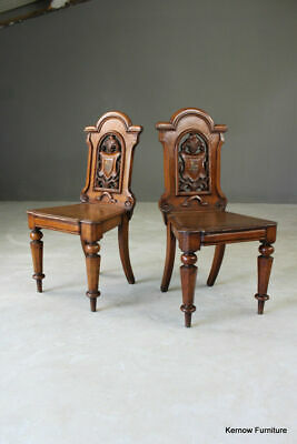 Pair Antique Shield Back Victorian Oak Hall Side Occasional Chairs