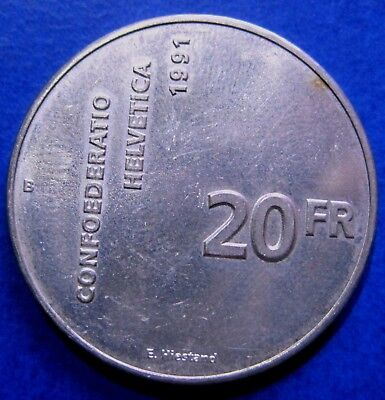 Switzerland, 20 Francs, 1991, Bern, Silver COIN