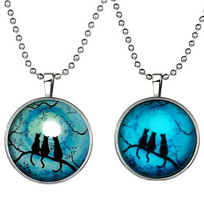 Retro Lady Three Cats Glow in The Dark Pendant Charm Necklace Steampunk Apt