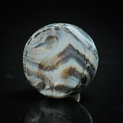 Ancient Agate Sulemani Stunning Banded Intaglio  Benu Egyptian Bird Seal Bead