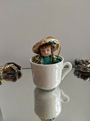Mini Ceramic Irish Lass Doll Ornament with Porcelain Cup-St Patrick's Day