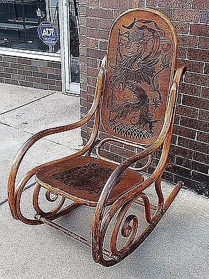 Victorian Antique German Griffin Coat of Arms bentwood Lincoln Rocking Chair