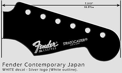 Fender Stratocaster Contemporary (SILVER & WHITE) Headstock Waterslide Decal