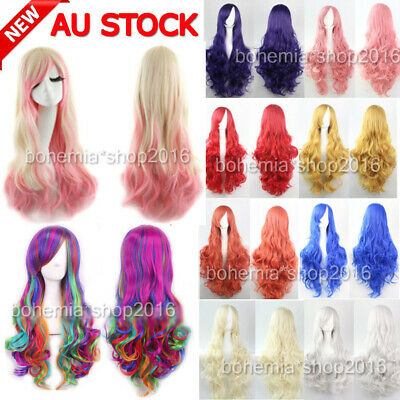 Women Long Anime Full Hair Wigs Rainbow Curly Wavy Straight Deluxe Wig Cosplay H