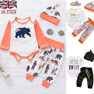 3PCS Newborn Baby Boy Girl Bear Romper Tops Pants Leggings Hat Outfits Clothes