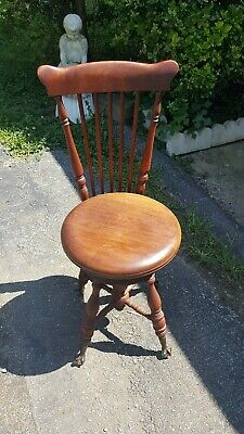 Vintage Antique Piano Stool Chair Ball Claw Swivel Seat w/BACK Victorian Style
