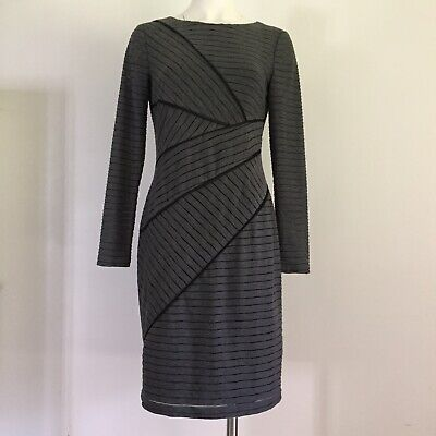 Adrianna Papell Womens Dress 8 Or M Textured Striped Long Sleeve Sheath Gray