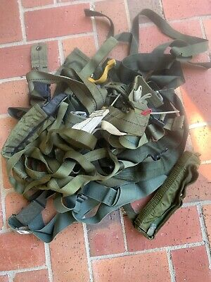 Lot of Military Issue Belts Straps Suspenders Green