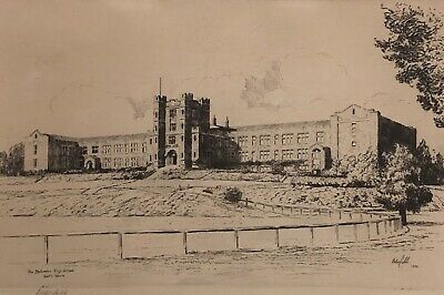 "Rare Etching ""The Melbourne High School South Yarra"" Victor Ernest Cobb"