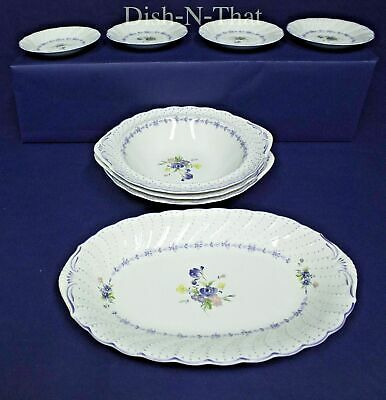 Nikko 851 Blue Peony Lot 0F 8 Pieces ~4 Serving ~4 Saucers~Made In Japan