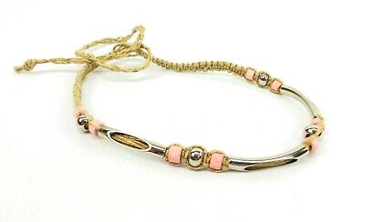 Hemp Necklace Pink Ceramic and Metal Industrial Beads Hippie Macrame Choker