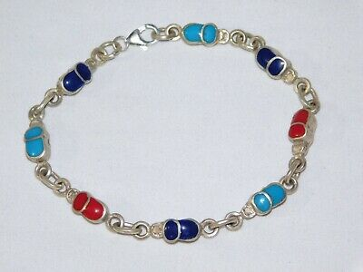 Egyptian Stamped 925 Solid Silver Bracelet Multi Colored Precious Gems Scarab