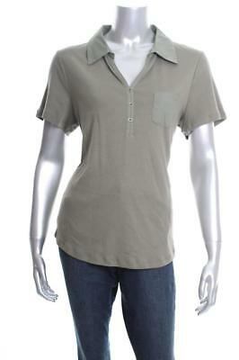 New Women's Karen Scott Cotton Polo Top Olive Vine Large