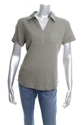New Women's Karen Scott Cotton Polo Top Olive Vine M