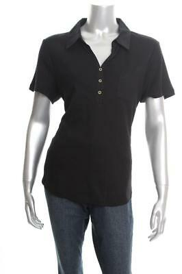 New Women's Karen Scott Cotton Polo Top Deep Black Small