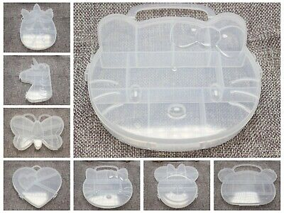 Clear Plastic Box Case compartments Bead Display Storage Container Various Shape