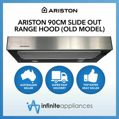 Ariston 90cm Stainless Steel Slide Out Recirculating or Ducted Kitchen RangeHood