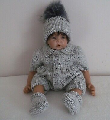 Hand Knitted Baby  Romper Pram Set Outfit  0 - 3 Months or Reborn   ADORABLE