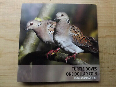 """2014 Canada Special Edition 1 Dollar """"TURTLE DOVES"""" Loonie Coin and holder"""